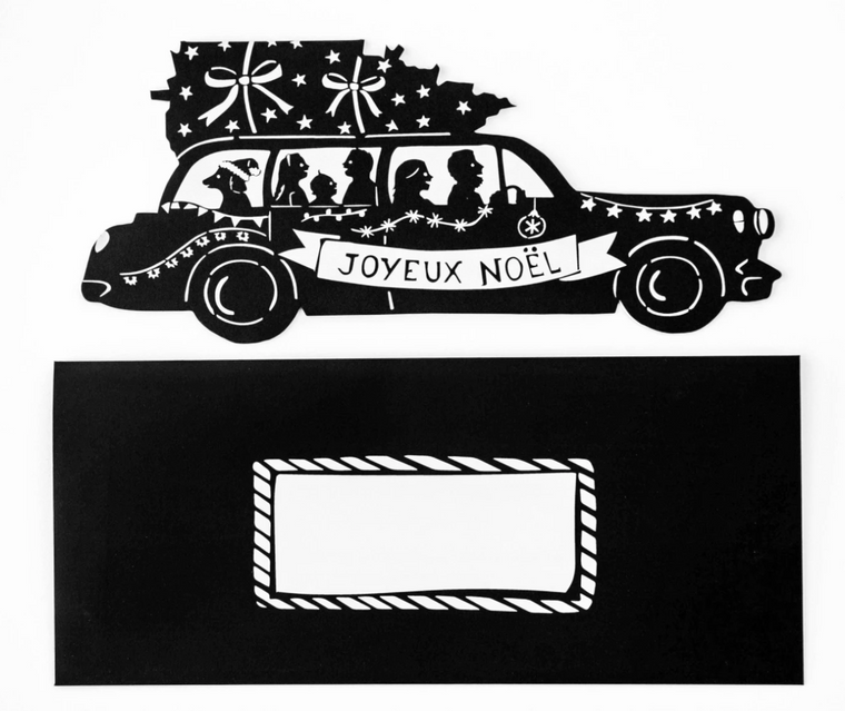 Joyeux Noel Christmas Tree and Car-shaped Greeting Card