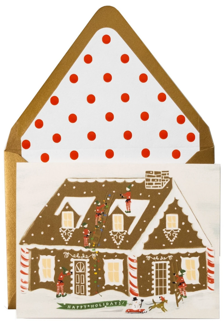 Comforting Gingerbread House Happy Holidays Greeting Card