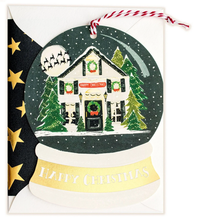 Happy Christmas Snowglobe Shaped Greeting Card