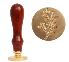 "1"" Round Brass Wax Seal with Wooden Handle - 5 Styles Available"
