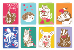 Valentines Animals Assorted - Singles and Boxed Set of 8