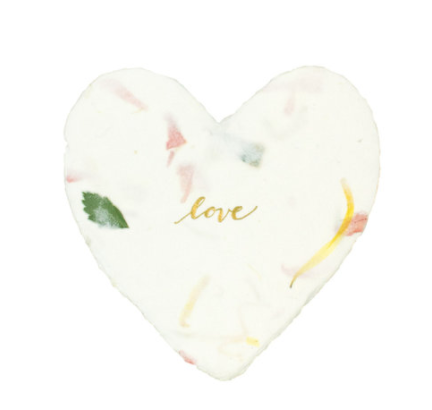 Love Petite Foiled Heart in Floral with Glassine Envelope