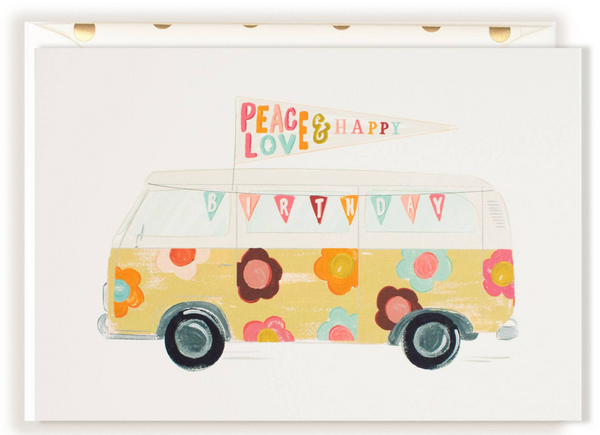 VW Floral Bus Greeting Card
