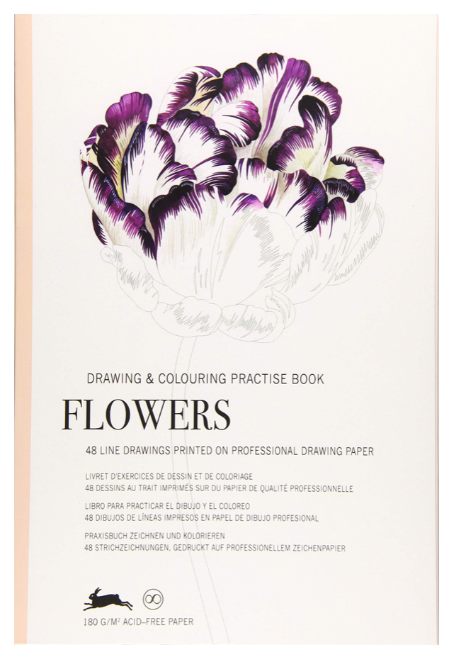 Drawing & Coloring Practice Book - Flowers