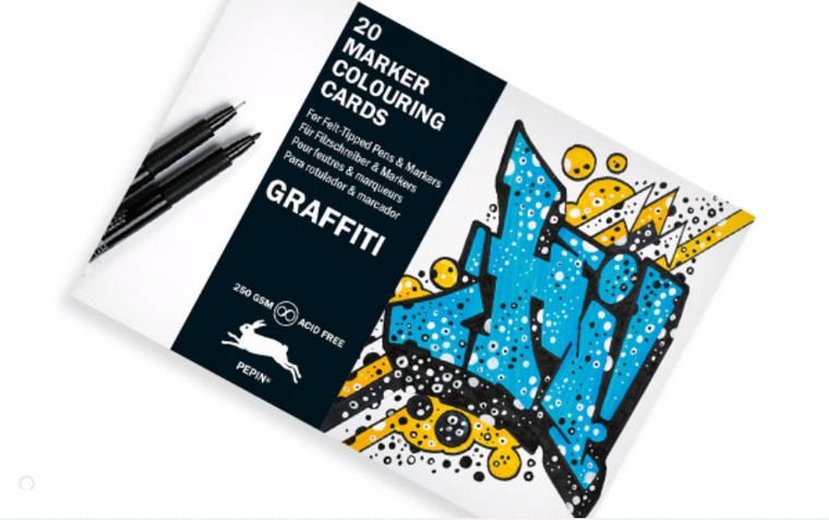 Graffiti Style Marker Coloring Cards Book