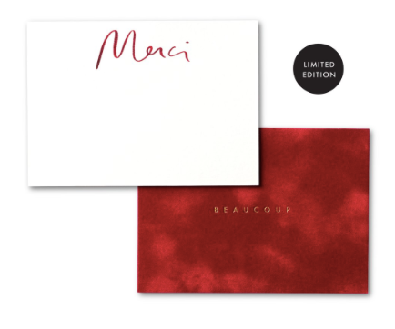 Artisan Velvet Note Cards-Merci/Beaucoup
