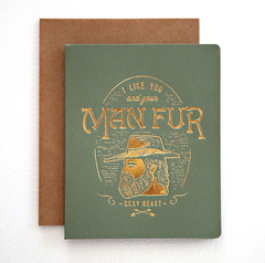 Man Fur Greeting Card