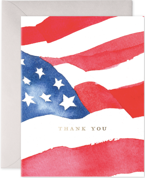 Veteran's Flag Thank You Greeting Card