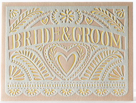 Lace Papel Bride & Groom Greeting Card