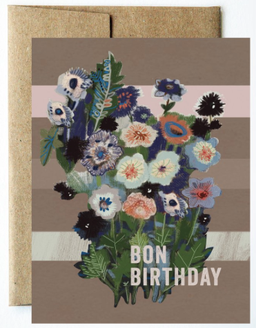 Bon Birthday Flowers Greeting Card