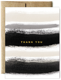 Foil Fog Stripes Thank You Greeting Card