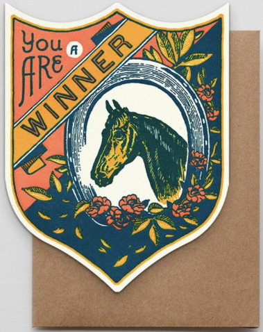 Winner Horse Badge Greeting Card