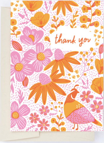 California Flora-Poppies Thank You Greeting Card