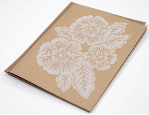 White Block Printed Floral Greeting Card