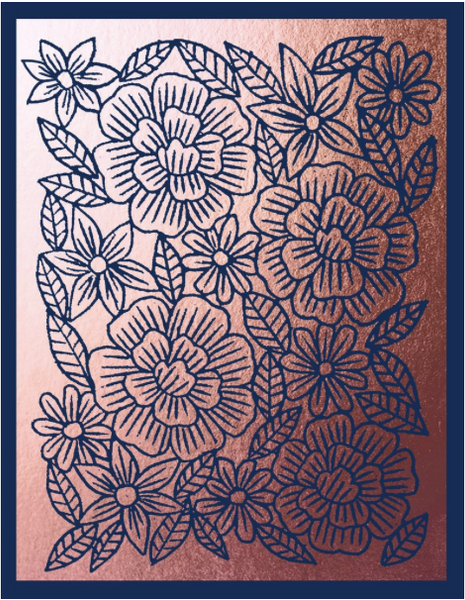 Copper Foil Block Print Floral Greeting Card