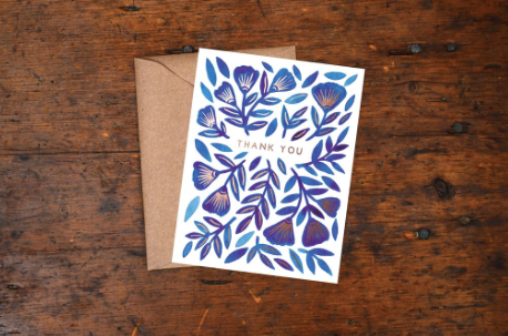Blue Block Print Floral Thank You Greeting Card