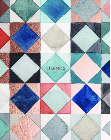 Thanks Squares Foil Stamped Greeting Card