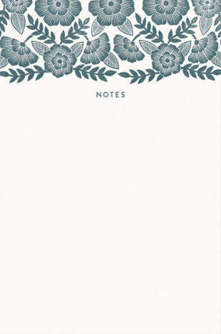 Green Floral Top Blockprint Notepad