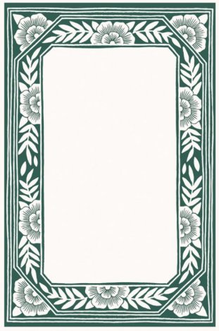 Green Floral Border Blockprint Notepad