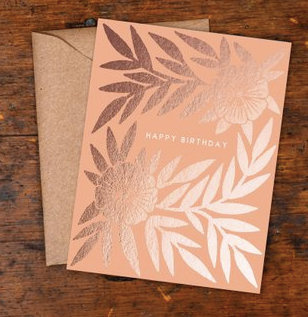Copper Foil Block Print Peach Floral Happy Birthday Greeting Card