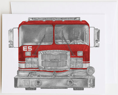 Highland Pumper Fire Truck Greeting Card