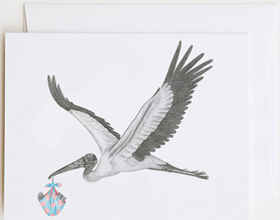 Llewellyn Caradoc Wood Stork (& Li'l Joe Buick Squirrel) Greeting Card