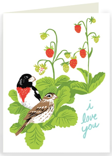 Grosbeak and Strawberries Greeting Card