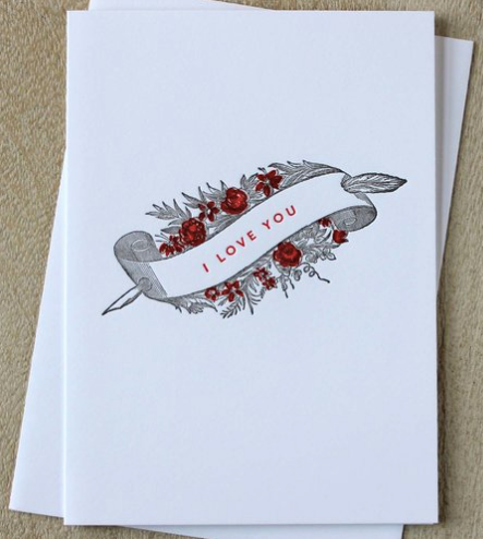 I Love You Quill & Banner Greeting Card