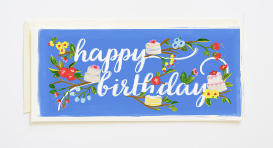 Happy Birthday Branches and Cake Greeting Card