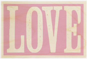 Pink Love Wooden Postcard