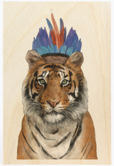 Tiger Feathers Wooden Postcard