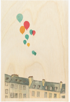 Buildings & Balloons Wooden Postcard
