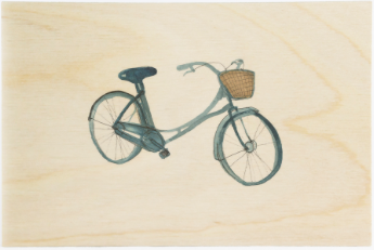Blue Bike Wooden Postcard