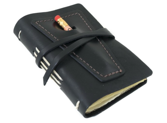 Small Leather Journal with Pencil Pocket