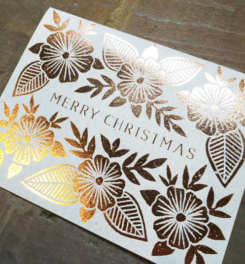 Merry Christmas Copper Foil Block Print Boxed Set