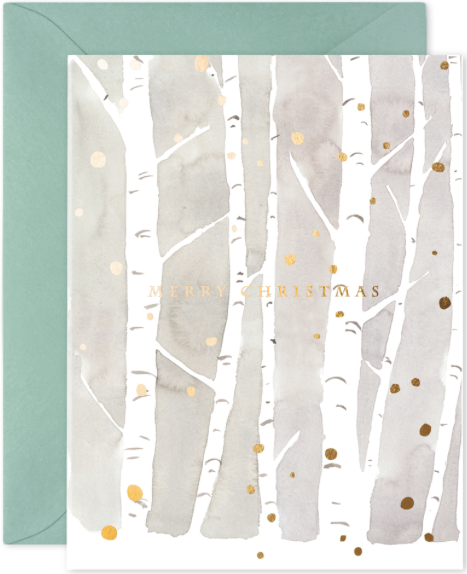 Christmas Birches Greeting Card