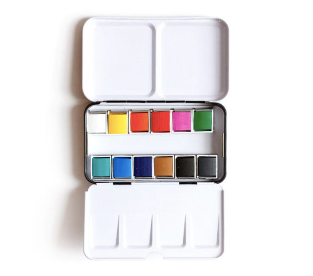 Pocket-sized Watercolor Tin & Travel Brush