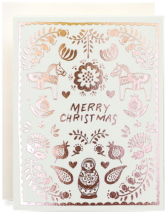 Scandinavian Merry Christmas Greeting Card