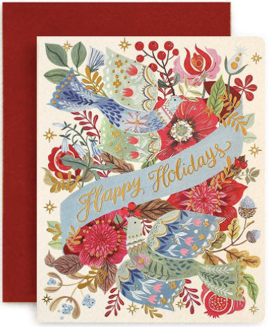 Folk Happy Holidays Greeting Card