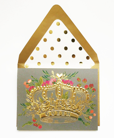 Queen Gold Foil Crown with Florals Greeting Card