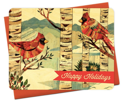 Cardinals Happy Holidays Wood Greeting Card