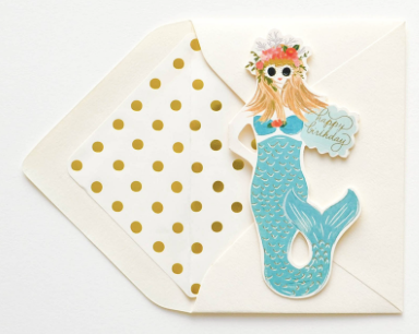 Mermaid Happy Birthday Folded Greeting Card