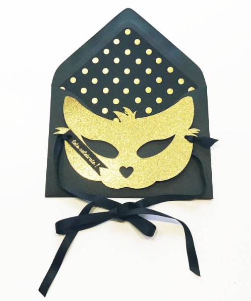 Gold Glitter Cat Mask Greeting Card