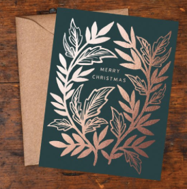 Merry Christmas Copper Foil Block Print Greeting Card