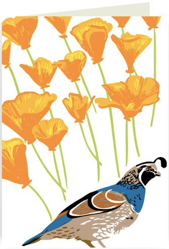 Quail & Poppies Greeting Card