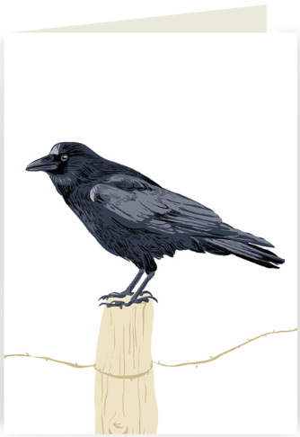Raven On Fencepost Greeting Card