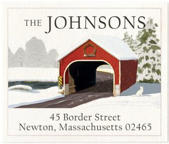 Custom Address Stickers - Holiday Covered Bridge