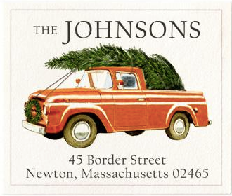 Custom Address Stickers - Christmas Red Truck