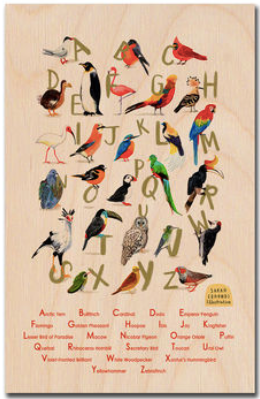 Avian Alphabet Wooden Postcard