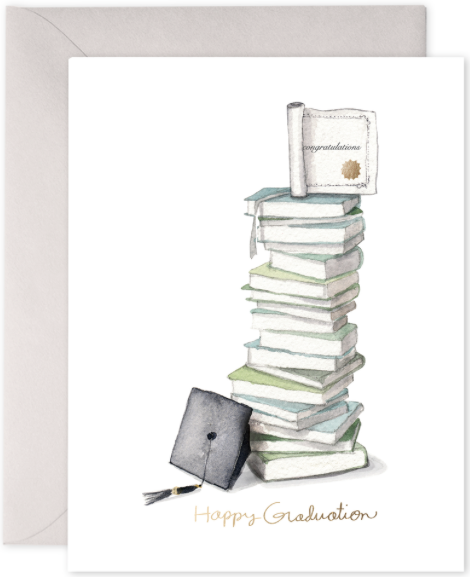 Grad Book Stack Greeting Card